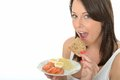 Healthy Happy Natural Young Woman Eating A Plate Of Norwegian Style Breakfast Stock Photos - 53025513
