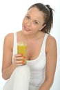 Healthy Attractive Young Woman Holding A Glass Of Green Detox Smoothie Stock Image - 53035591