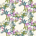 Vector Seamless Pattern With Flowers And Leaves Stock Photos - 53039803