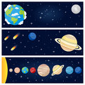 Solar System Planets Horizontal Banners Royalty Free Stock Image - 53041616