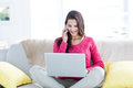 Smiling Beautiful Brunette Speaking On The Phone While Using Laptop Stock Image - 53053791