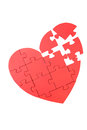 Red Puzzle Heart Royalty Free Stock Photo - 53062615