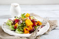 Salad With Baked Pumpkin On A Plate Stock Photography - 53068892