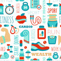 Fitness Seamless Patterns With Sport Elements And Stock Image - 53077861
