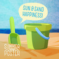 Cute Summer Poster - Sun, Sand, Spade And Bucket Royalty Free Stock Images - 53100429