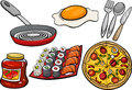 Kitchen And Food Objects Cartoon Set Royalty Free Stock Images - 53124189
