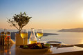 Romantic Table For Two On The Island Santorin Stock Image - 53126631