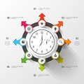 Infographic. Business Clock. Colorful Circle With Icons. Vector Stock Photos - 53130263