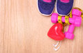 Sport Equipment For Cardio. Sneakers, Dumbbells, Measuring Tape Royalty Free Stock Images - 53130919