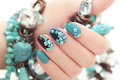 Manicure With Beads And Turquoise. Stock Photo - 53136010