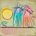 Cats In Love Sitting On A Roof Royalty Free Stock Photography - 53136967