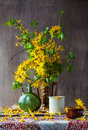 Still Life Bouquet Yellow Forsythia Spring Stock Images - 53141134