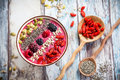 Breakfast Berry Smoothie Bowl Stock Photo - 53147300
