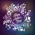 Happy Mother S Day Floral Wreath Blurred Background. Happy Mothers Day Typographical Background With Spring Flowers Stock Photo - 53151530
