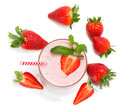 Strawberry Smoothie; View From Above Stock Images - 53156294