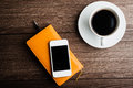 Organizer With Cup Of Coffee And Mobile Phone Royalty Free Stock Images - 53181529