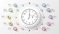Infographic. Business Clock. Colorful Circle With Icons. Vector Stock Photo - 53189110