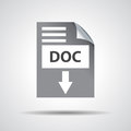 Flat Doc Download Icon On Grey Background Royalty Free Stock Images - 53193489