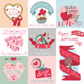 Mothers Day Cards Set.Ribbons, Hearts,decor Stock Photos - 53198603