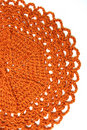 Handmade Orange Crochet Doily Stock Photos - 5325453