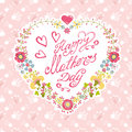 Vintage Mother Day Card. Floral Heart Wreath Stock Photos - 53204313