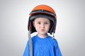 Portrait Of A Little Boy In A Motorcycle Helmet Royalty Free Stock Images - 53211239