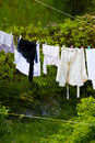 Clean Laundry Hanging To Dry On Line Outdoor Royalty Free Stock Photography - 53243717