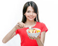 Chinese Woman Holding Bowl Of Fruit Royalty Free Stock Images - 53244459