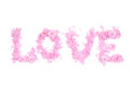 Word Love Composed From Pink Petals And Flowers Stock Images - 53246824