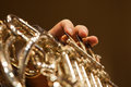 French Horn In The Hands Of A Musician Closeup Stock Photos - 53267243