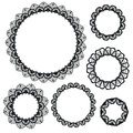 Set Of Crochet Lacy Frames. Royalty Free Stock Photography - 53277457