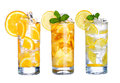 Glass Of Cold Ice Tea And Lemonade Drink Collection  Isolated Royalty Free Stock Photo - 53279405