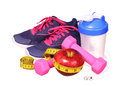 Sport Equipment. Sneakers, Dumbbells, Measuring Tape Royalty Free Stock Photo - 53279645