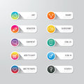 Modern Banner Button With Social Icon Design Options. Vector Ill Stock Image - 53334821