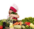 Little Girl Cook With Vegetables Stock Image - 53335801