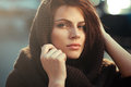 The Mysterious Thoughtful Woman In A Hood Stock Photography - 53338522