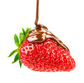 Melted Chocolate Pouring On Strawberry Stock Photography - 53340392