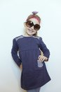 Self-confident Little Girl Posing For Her Dad Stock Photos - 53341043