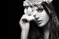 Beauty In Spring Concept. Monochrome Portrait Royalty Free Stock Photos - 53341708