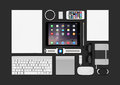 Apple Products Mockup Consisting Ipad Air 2, Iphone 5s, Keyboard Royalty Free Stock Photography - 53349187