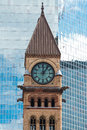Architectural Contrast:Clock Tower In Old City Hall In Toronto Against Modern Building Royalty Free Stock Photo - 53364045