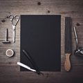 Vintage Barber Tools And Black Page Stock Photos - 53375803