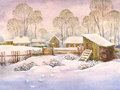 Watercolor Landscape Of Old Winter Village Royalty Free Stock Images - 53381929