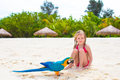 Adorable Little Girl At Beach With Colorful Parrot Stock Images - 53404874