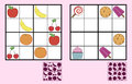Childrens Sudoku Puzzle With Sweets Nuts And Fruit Stock Images - 53415094
