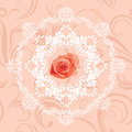 Ornamental Circular Element With Rose On The Seamless Floral Background Royalty Free Stock Image - 53415116