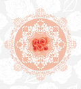 Ornamental Circular Element With Roses On The Seamless Floral Background Stock Photos - 53415123