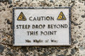 Warning Sign On Harbour Wall Royalty Free Stock Photo - 53430425