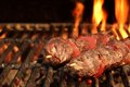 Barbecue Beef Kebabs On The Flaming Grill Close-up Royalty Free Stock Images - 53430979