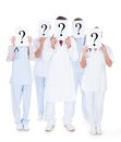 Group Of Doctors With Question Mark Sign Stock Photo - 53433080